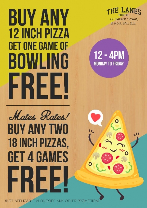 Lunchtime Deals every day at The Lanes Bristol in October 2018