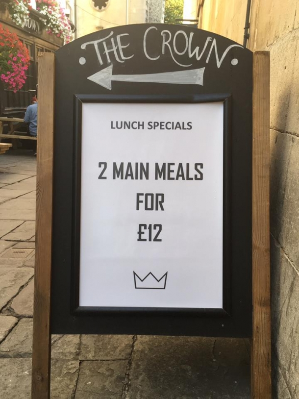 Lunch deals at The Crown in Bristol in January 2019