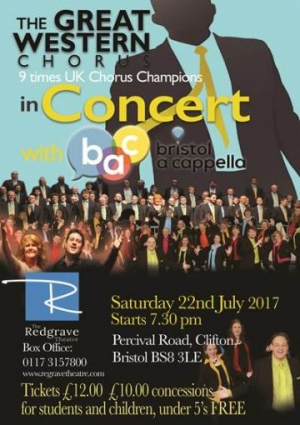 The Great Western Chorus & Bristol A Cappella at The Redgrave Theatre in Bristol on 22 July 2017