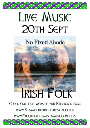 No Fixed Abode Irish Music at Seamus O'Donnell's in Bristol on Thursday 14 November 2019