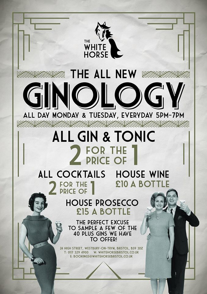 Ginology Night at The White Horse in Bristol every night!