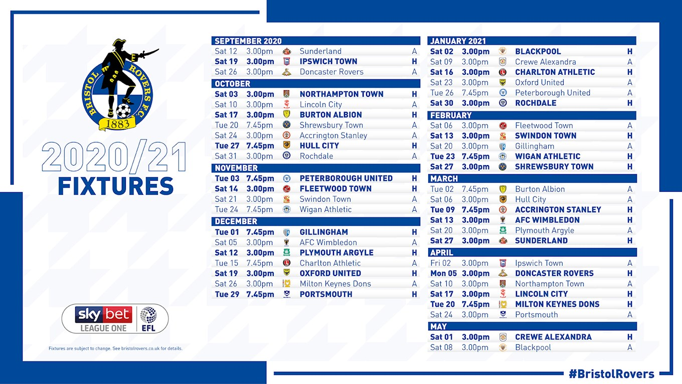 Bristol Rovers Fixtures 2020/21