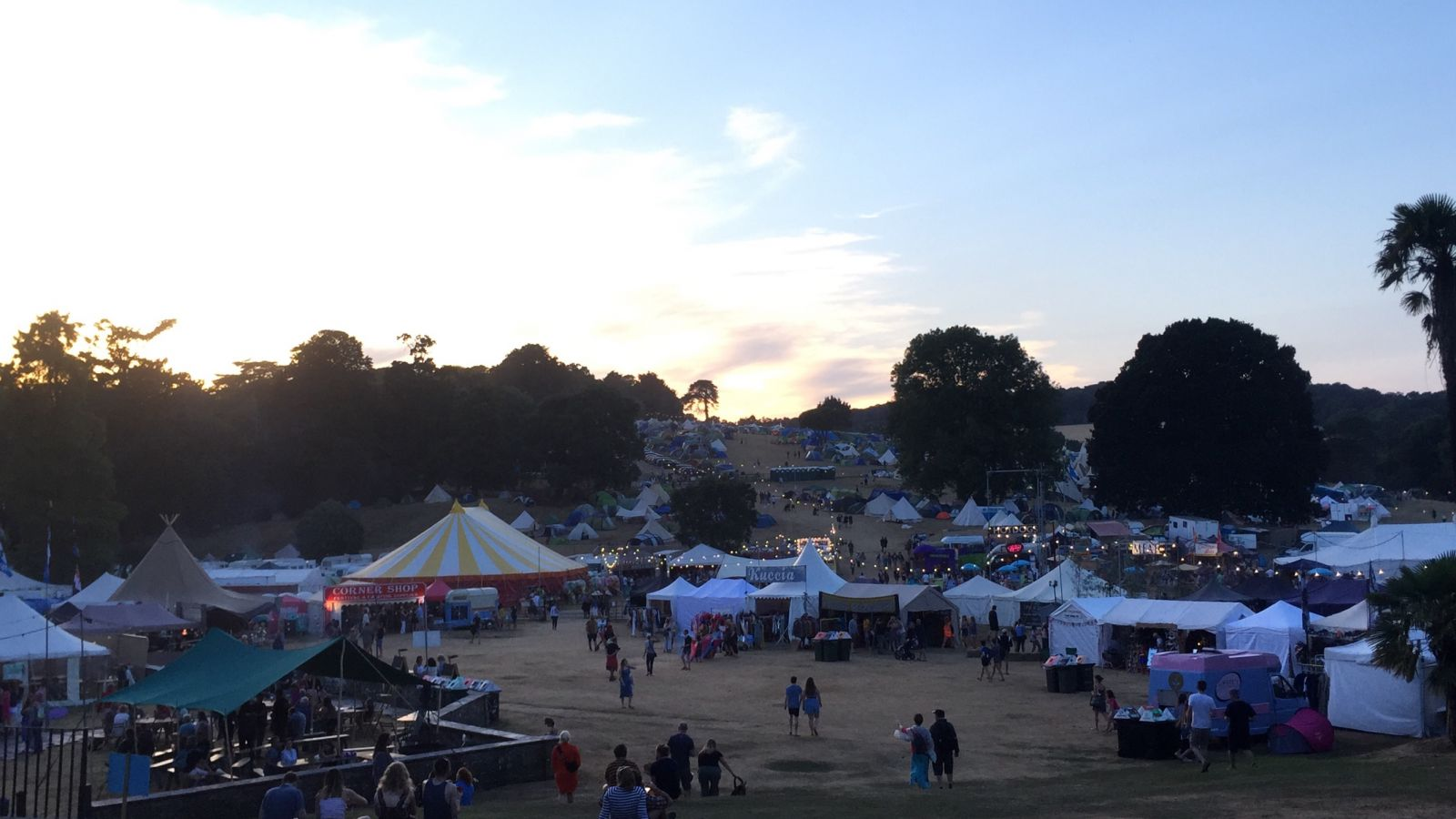 The sun goes down over the beautiful Port Eliot site in St Germans, Cornwall.