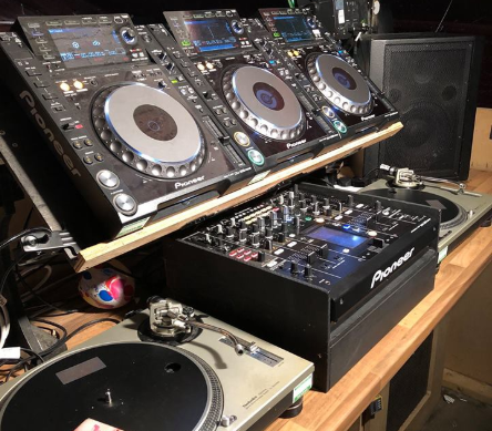 The three-deck setup at Basement 45. Owner Mark Davis runs DJ lessons from the club every week.