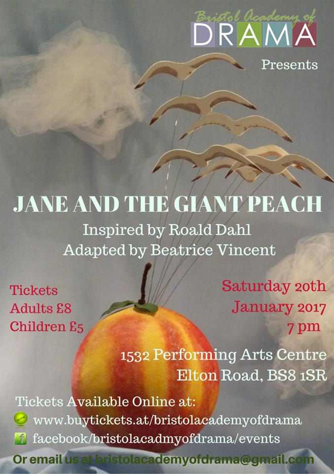 Jane and the Giant Peach is a stage adaptation of the Roald Dahl classic James and the Giant Peach.