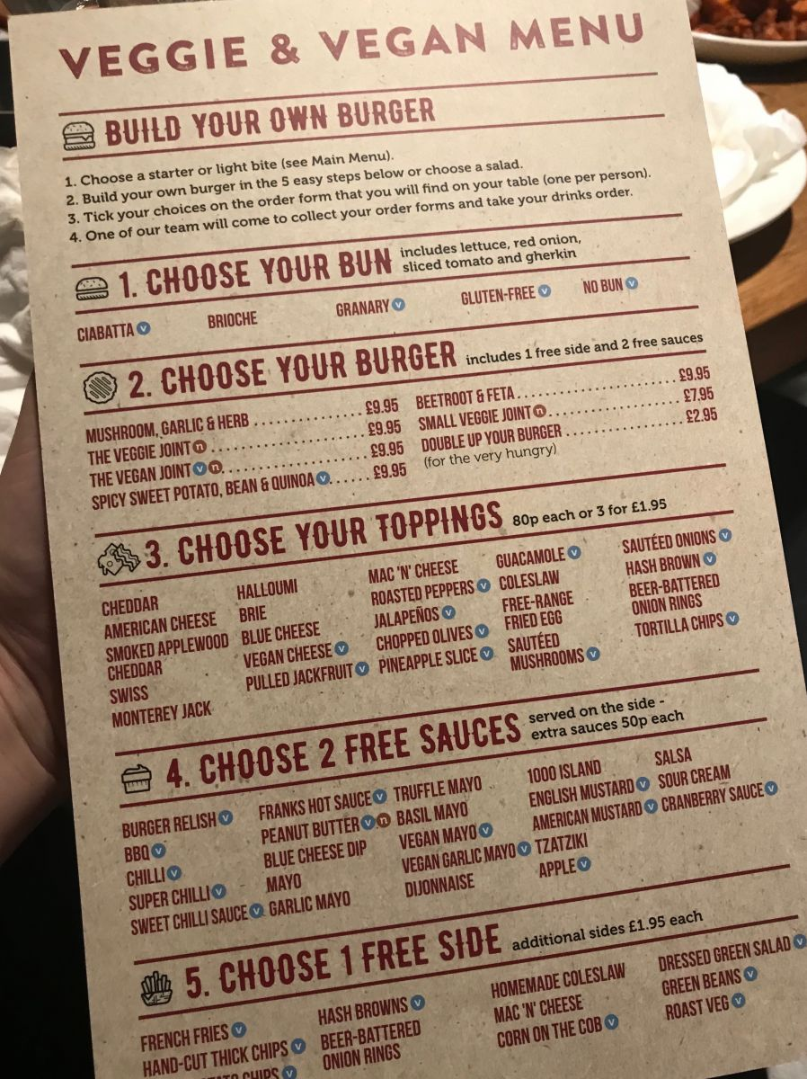 Veggie and Vegan Menu at The Burger Joint, Bristol