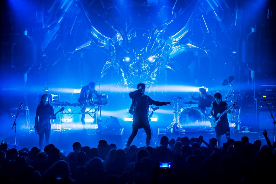 Crossfaith on stage during their European tour.
