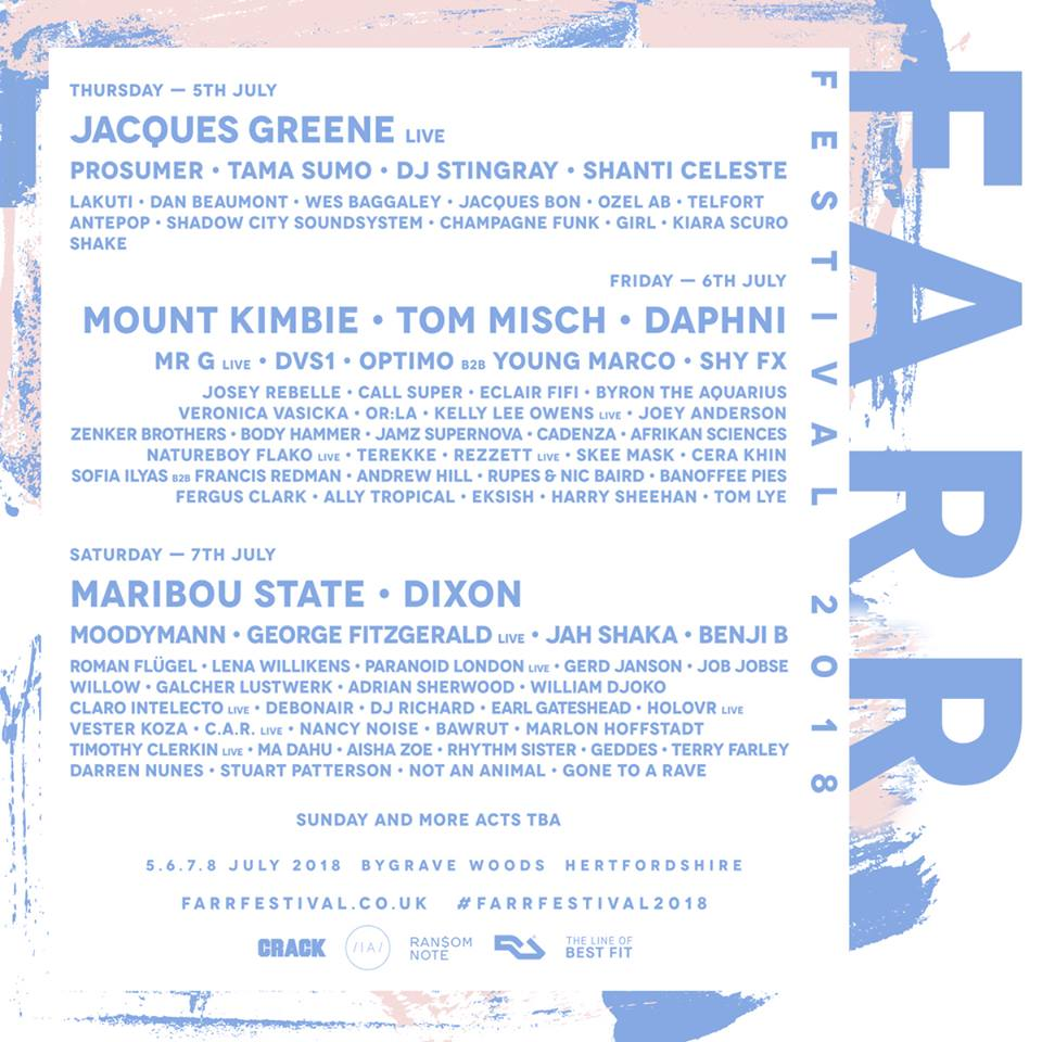 Farr's latest lineup poster, with more acts still to be announced.