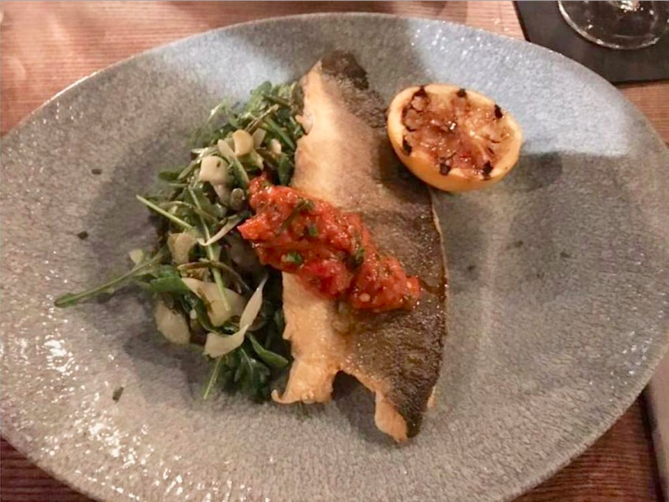 Seabass fillet at The Lost and Found in Bristol