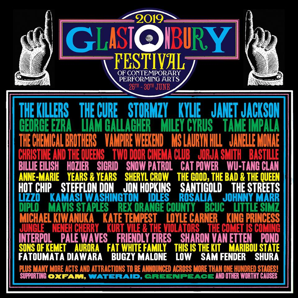 The 2019 Glastonbury Festival lineup.