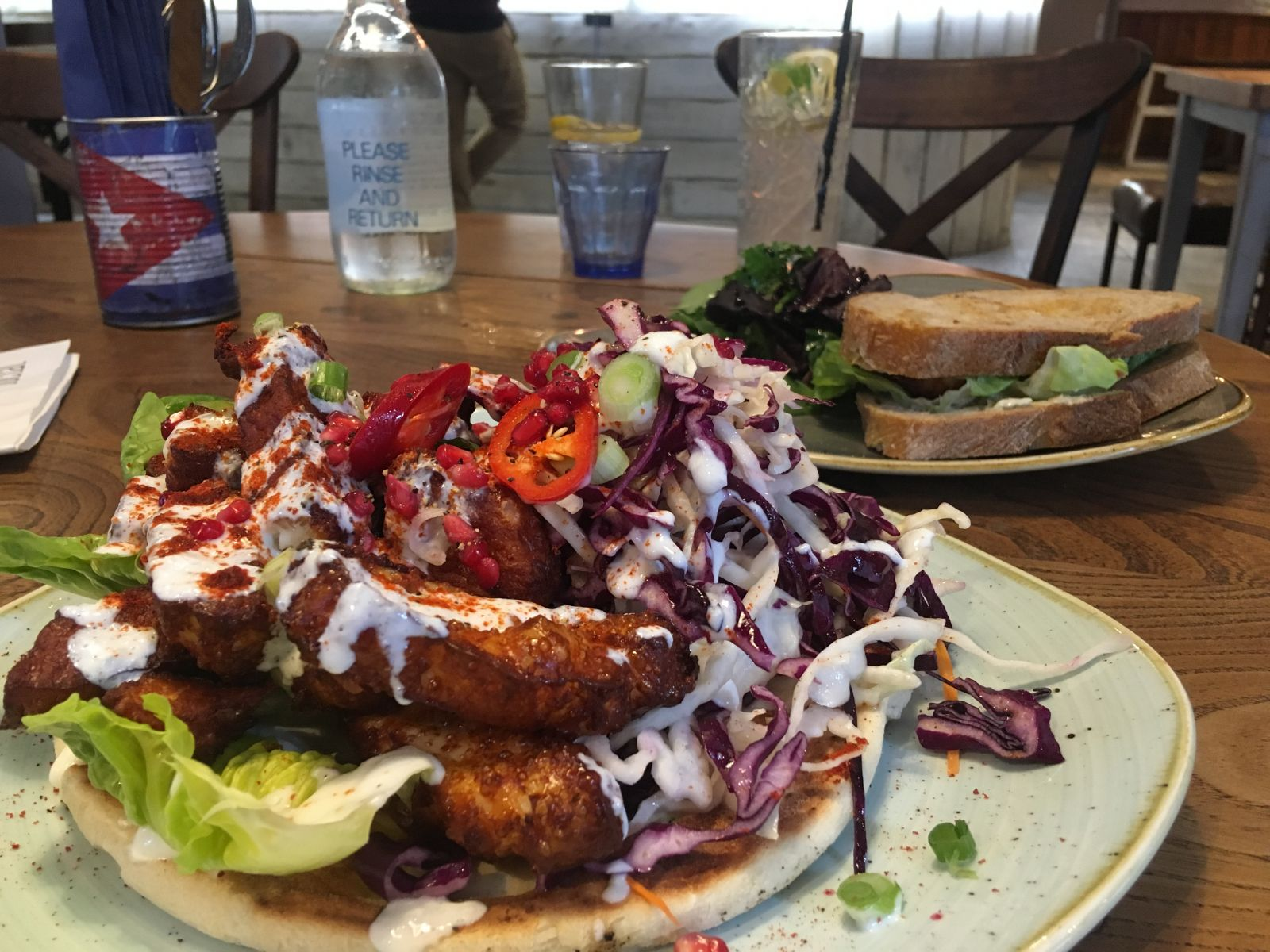 The Halloumi Kebab and Famous Fish Finger Sandwich at The Prince Street Social.