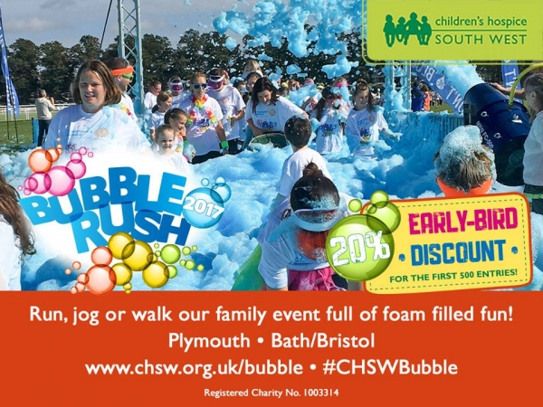 Children's Hospice South West Bubble Rush in Bristol on Saturday 2 September 2017'
