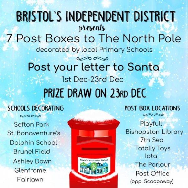 7 Post Boxes on Gloucester Rd Decorated by Bristol Primary Schools this Christmas