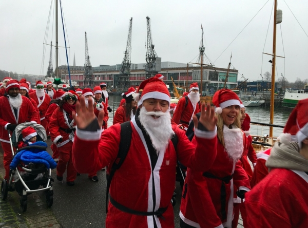 Bristol Santas braved the weather for their run on Sunday 10th December