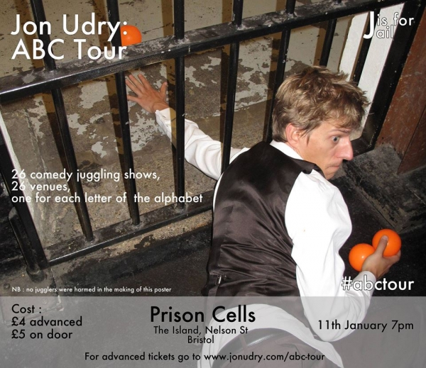 Jon Udry ABC Tour - J is for Jail at The Island on Thursday 11 January 2018