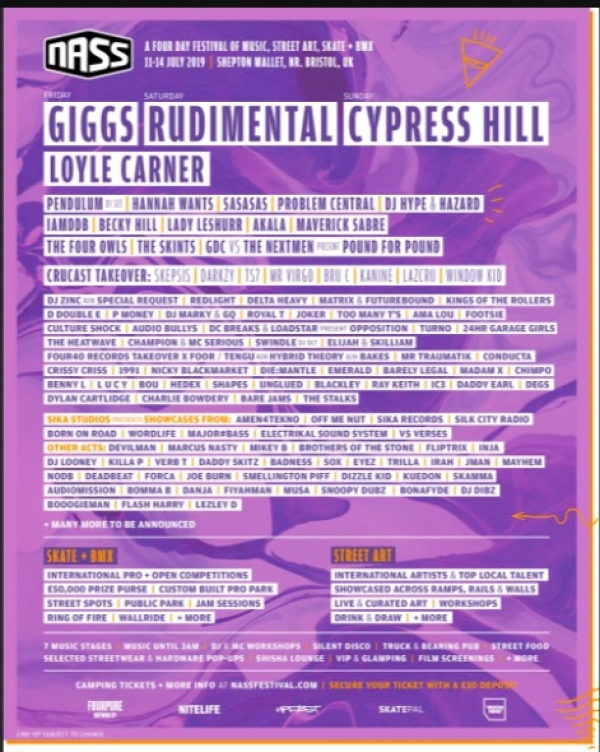 NASS Festival add Yxng Bane Kojey Radical Tom Misch and more