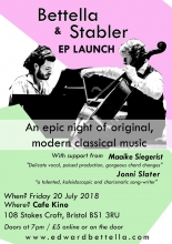 Bettella & Stabler: EP Launch at Cafe Kino on Friday 20th July 2018
