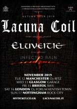 Gothic Metal bands Lacuna Coil and Eluveitie at SWX in Bristol Friday November 15th 2019